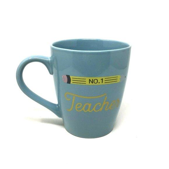 50oz Stoneware No. 1 Teacher Giant Mug Blue - Thre